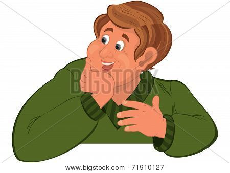 Happy Cartoon Man Torso In Green Sweater Holding Chin
