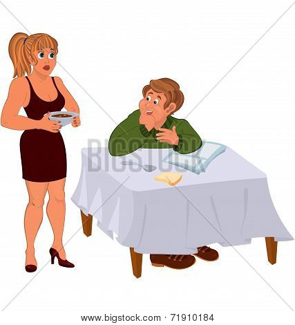 Happy Cartoon Man With His Wife