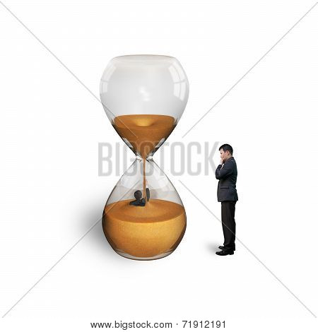 Manager Oversee Employee Flooded In Hourglass Isolated On White