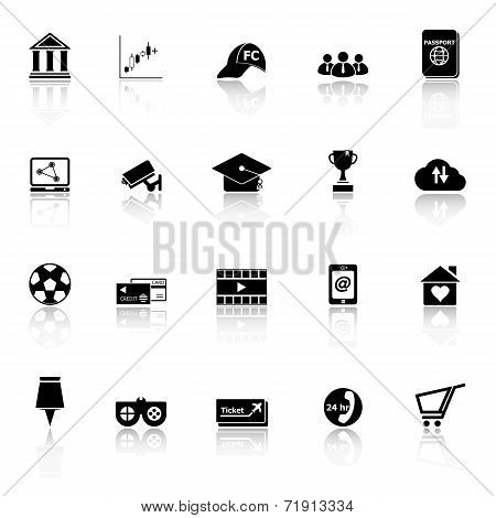 General Online Icons With Reflect On White Background