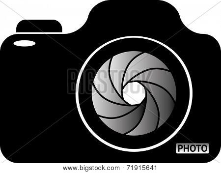 Photo Camera. Black and white vector illustration