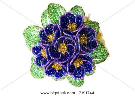 Purple  Beads  Flower With Green Leafs