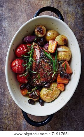 Herb roast pork with roast vegetables