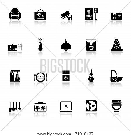 Cafe And Restaurant Icons With Reflect On White Background