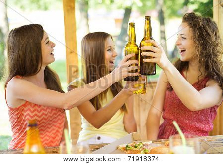 Friends drinking and chatting