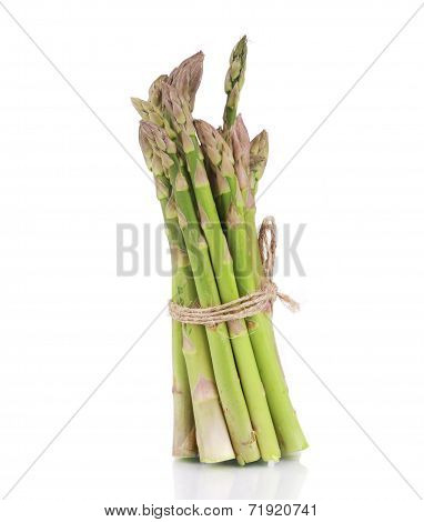 Bunch of asparagus tied up.