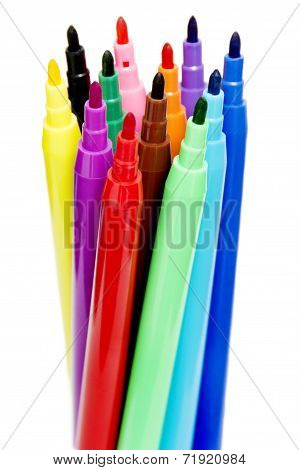 Colorful Felt Pens, Isolated on White Background