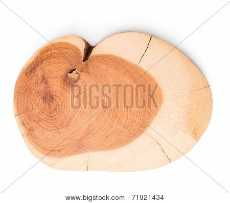 Cross Section Juniper Texture, Isolated On White Background