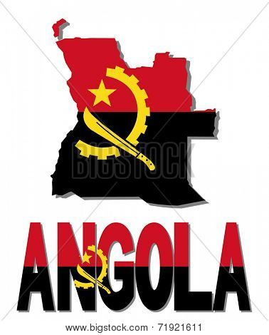 Angola map flag and text vector illustration