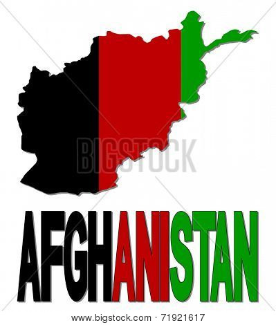 Afghanistan map flag and text vector illustration