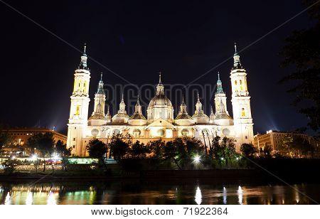Basilica Del Pilar in Zaragoza in night illumination Spain