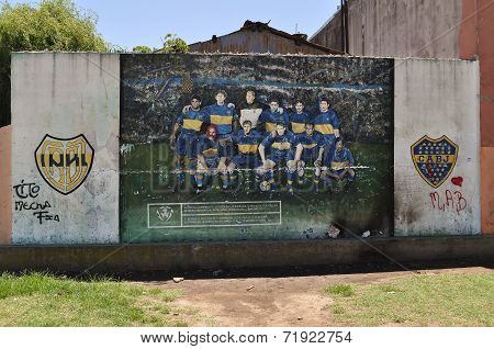 Graffiti Of Boca Juniors Team At La Boca