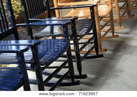 Row of comfortable rocking chairs