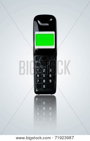 Cordless Phone On Gray Gradient Background.