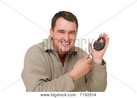 Happy Man With The Key And Lock