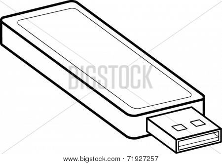 usb flash drive line art