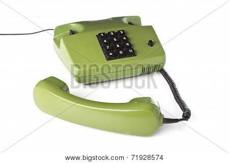 old telephone on white background