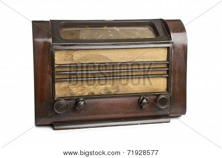 old radio isolated on white background