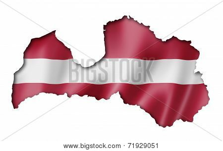 Latvian Flag Map