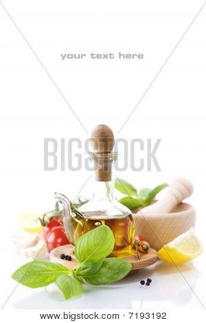 Постер, плакат: оливковое масло и овощи, холст на подрамнике