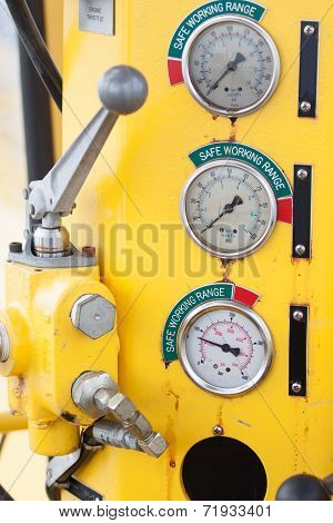 Meters or gauge in crane cabin