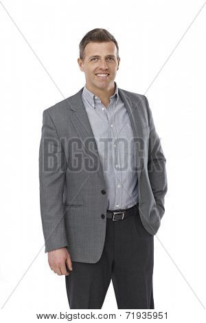 Portrait of casual young businessman in shirt and jacket.