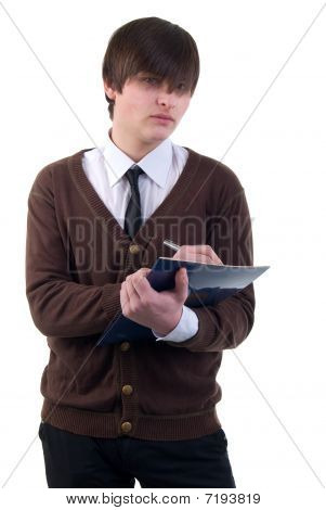 Office Young Adult Man. Studio Shoot Over White Background.