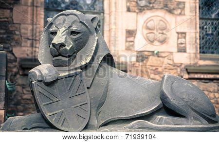 Stone lion in Edinburgh castle, closeup