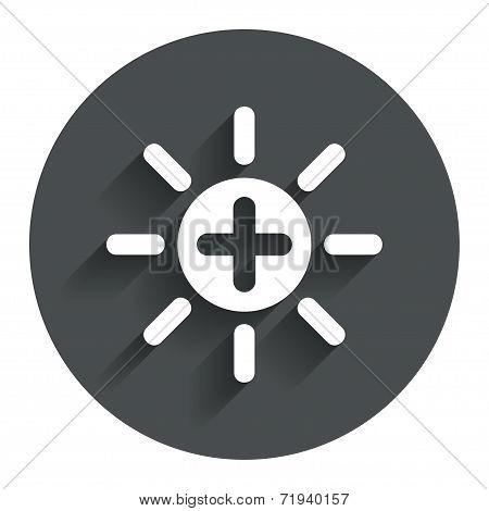 Sun plus sign icon. Heat symbol. Brightness.