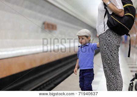 Child Waiting Train
