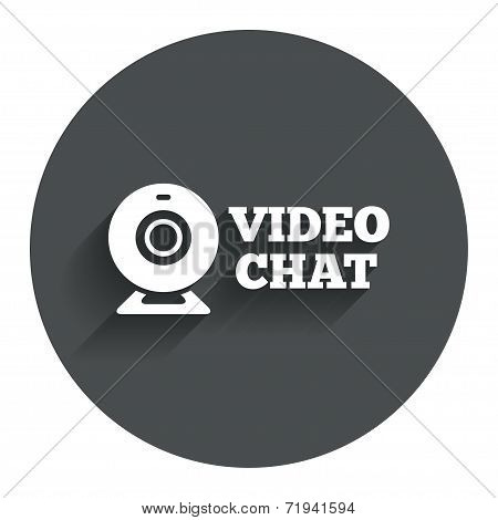 Video chat sign icon.