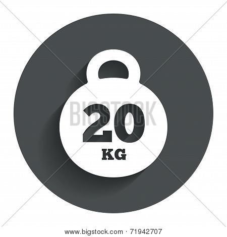 Weight sign icon. 20 kilogram (kg). Sport symbol
