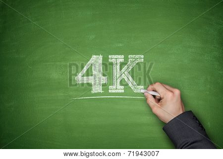 4K Concept On Blackboard