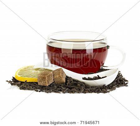 Cup Of Tea With Lemon And Brown Sugar