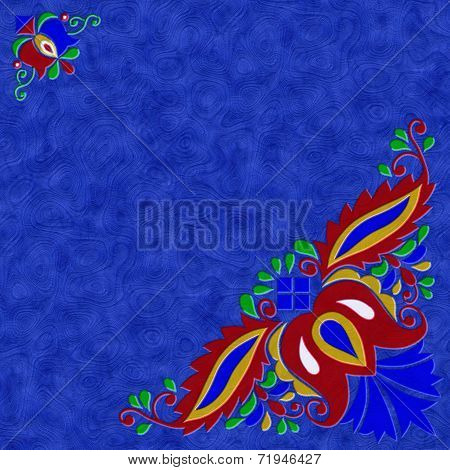 Moravian Folk Ornament Relief Painting On Generated Marble Textu