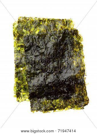 Dry Roasted Seaweed Isolated On White
