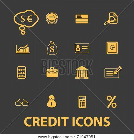 credit, bank, investment icons, signs, illustrations, silhouettes set, vector