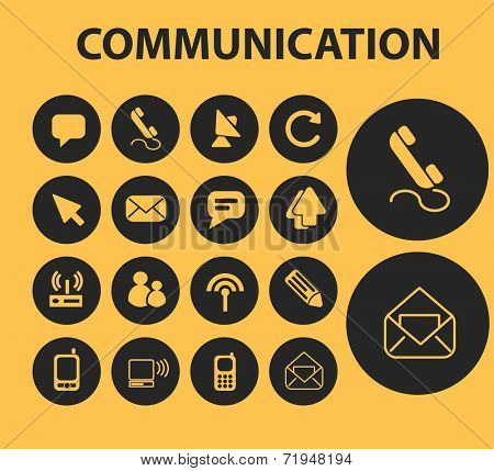 communication buttons, icons, signs, illustrations, silhouettes set, vector