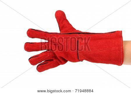Five fingers in heavy-duty red glove.