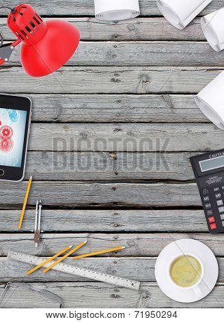 Lie on wooden floor smartphone, tablet and open book