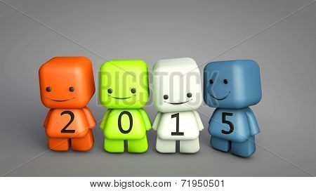 2015 New Year Concept With 3D Cartoon Characters Illustration