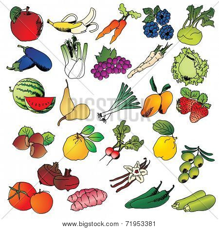 Freehand drawing fruits and vegetables icon set - vector eps 10 illustration