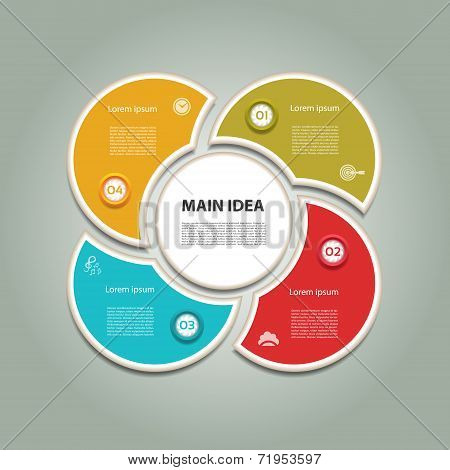 Cyclic diagram with four steps and icons. Vector infographic background.