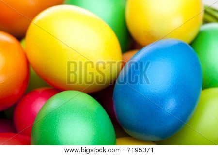 Closeup Macro Of Bunch Of Colorful Easter Eggs