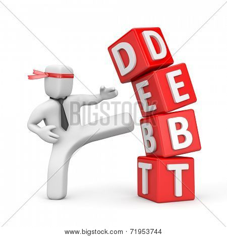 Businessman destroying the pyramid of debt