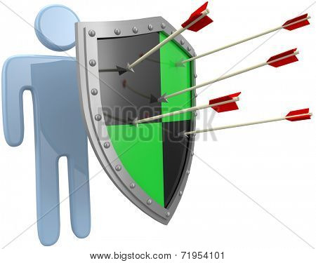 Safe security shield protection for a person from risk danger threat