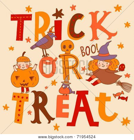 Bright trick or treat card in vector. Stylish halloween background in cartoon style. Boy pumpkin, witch and birds on text