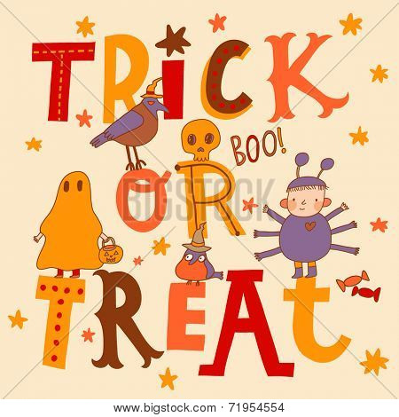Bright trick or treat card in vector. Stylish halloween background in cartoon style. Boy as a spider, ghost, crow, candies