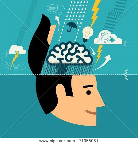 Flat design vector illustration concept for creative brainstorming process, web design & development