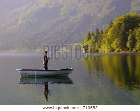 Fishing In The Morning At Lake Bohinj